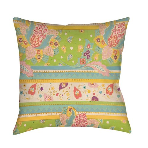 Floral Stipe with Jacobean Throw/ Floor Pillow
