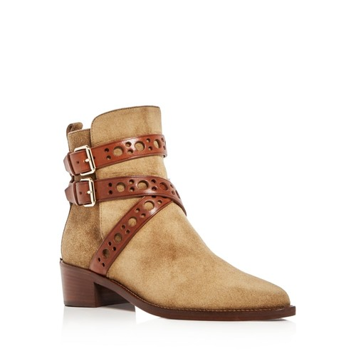 BURBERRY Dearlane Crisscross Ankle Strap Pointed Toe Booties
