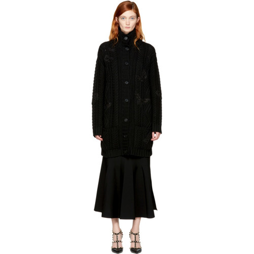 VALENTINO Black Long Cable Knit Butterfly Cardigan