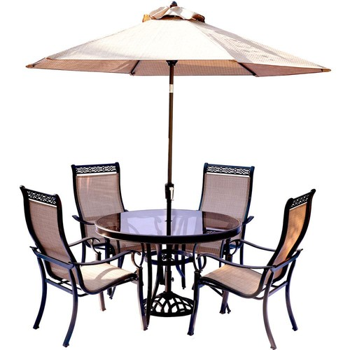 Hanover Monaco 5-Piece Outdoor Dining Set with Round Glass-Top Table and Contoured Sling Stationary Chairs, Umbrella and Base