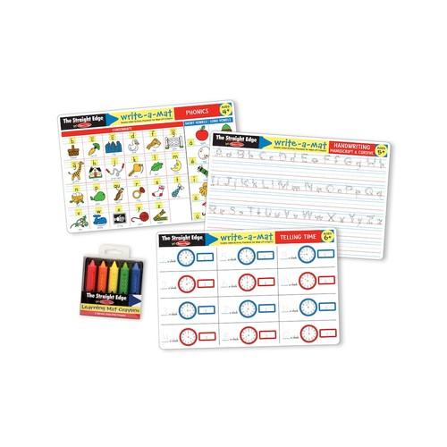 Melissa & Doug Basic Skills Placemat Set - Phonics, Handwriting, and Telling Time [Basic Skills Placemat Bundle]