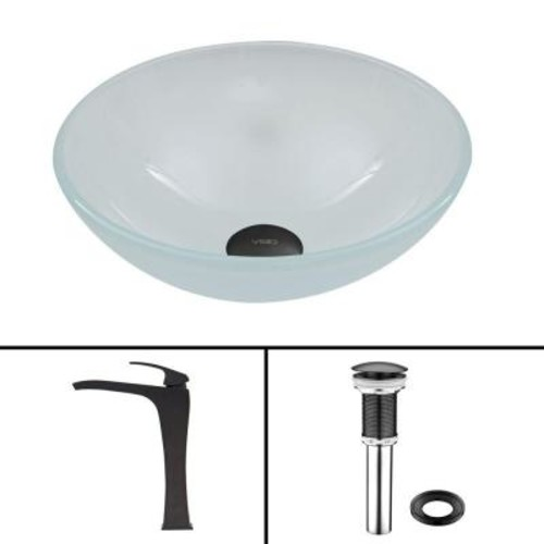 VIGO Glass Vessel Sink in White Frost and Blackstonian Faucet Set in Matte Black