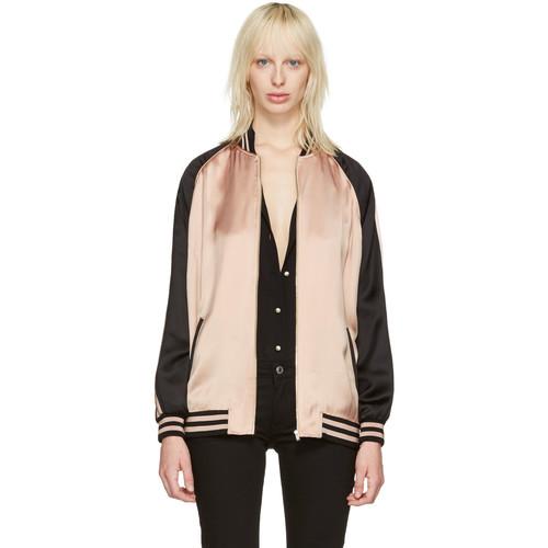 SAINT LAURENT Pink Oversized Teddy Bomber Jacket