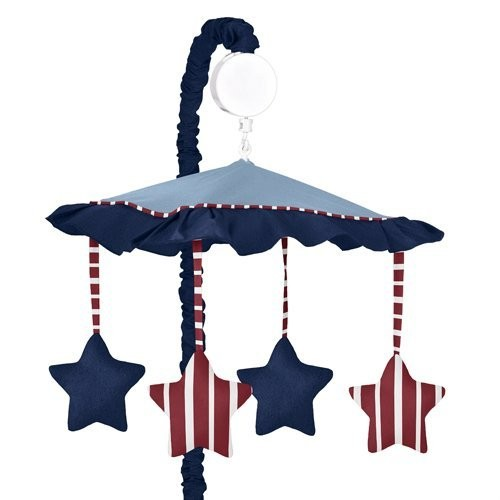 Sweet Jojo Designs Red, White & Blue Vintage Aviator Musical Baby Crib Mobile