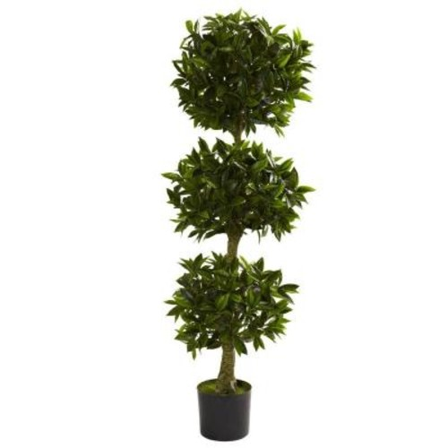 Nearly Natural 5 ft. UV Resistant Indoor/Outdoor Triple Bay Leaf Topiary
