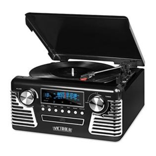 Innovative Technology Victrola 50's Retro 3-Speed Bluetooth Turntable with Stereo, CD Player and Speakers, Black