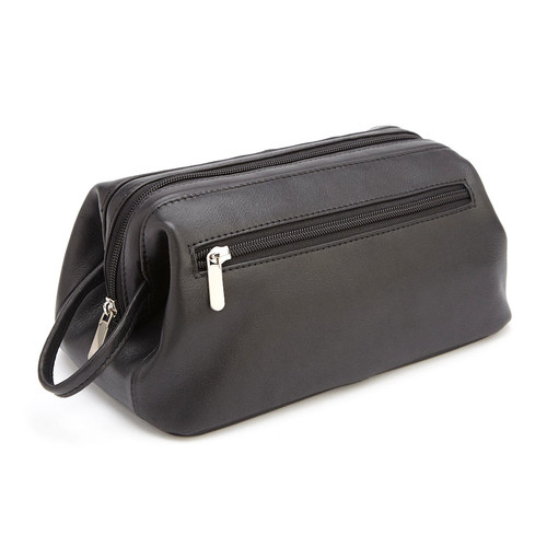 Royce Leather Colombian Vaquetta Cowhide Toiletry Bag [Black, One Size]