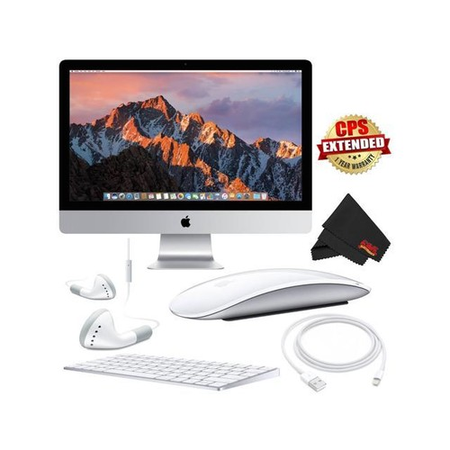 Apple iMac MNED2LL/A 27 Inch, 3.8GHz Intel Core i5, 8GB RAM, 1TB Fusion Drive, (Silver) 2017 Model + MicroFiber Cloth Bundle