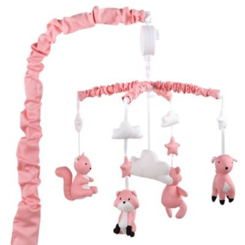 The Peanut Shell Woodland Musical Mobile in Coral