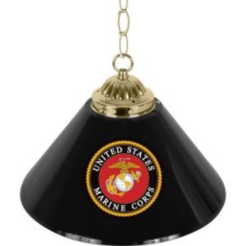 Trademark Global United States Marine Corps 14 in. Single Shade Black Hanging Lamp