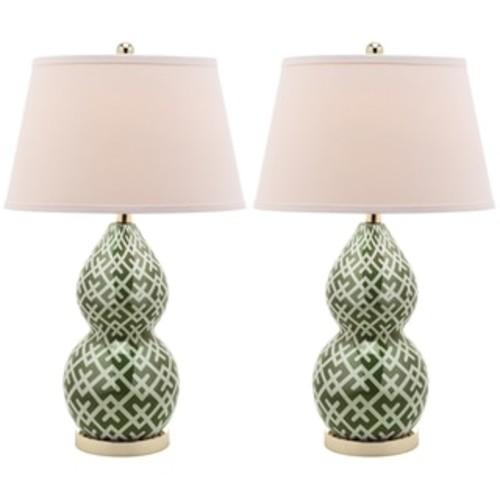 Safavieh Lighting 30.5-inch Chevron Long Neck Ceramic Green Table Lamps (Set of 2)