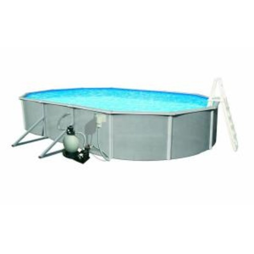 Blue Wave Belize 15 ft. x 30 ft. Oval 52 in. Deep 6 in. Top Rail Metal Wall Swimming Pool Package