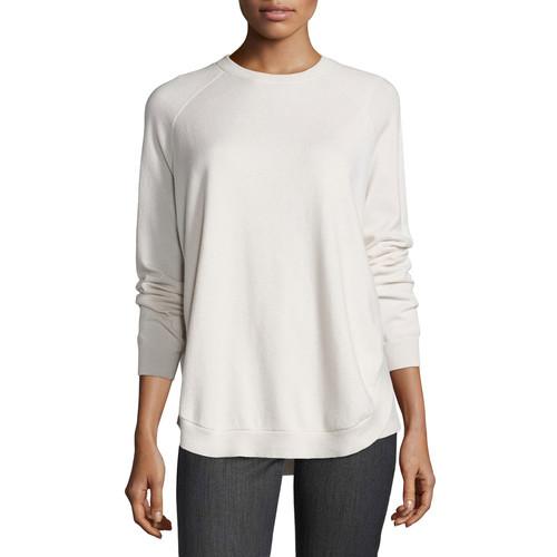 BRUNELLO CUCINELLI Cashmere Crewneck Open-Side Sweater, Vanilla