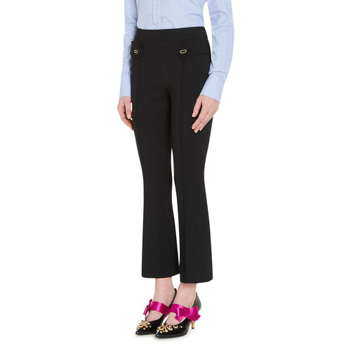 PRADA Cropped Flare-Leg Pants, Black