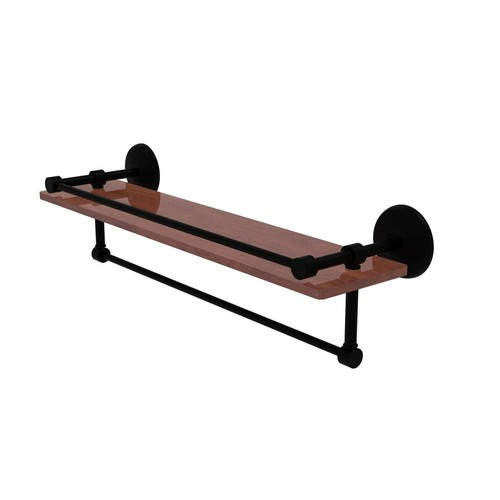 Allied Brass Monte Carlo Collection 22 in. IPE Ironwood Shelf with Gallery Rail and Towel Bar in Matte Black