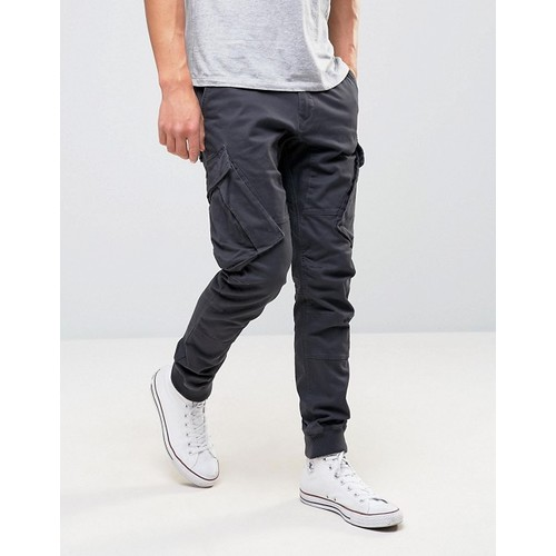 River Island Cargo Joggers In Washed Black