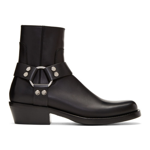 Black Harness Buckle Boots