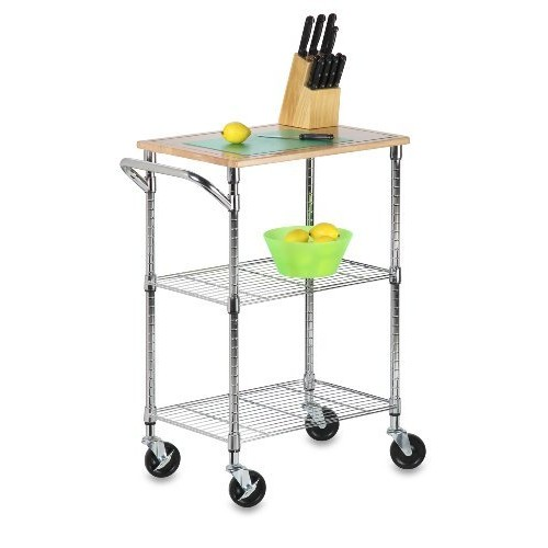 Honey-Can-Do SHF-01607 Urban rolling cart, chrome, 2-Shelf [3-Tier Rolling Chopping Cart]
