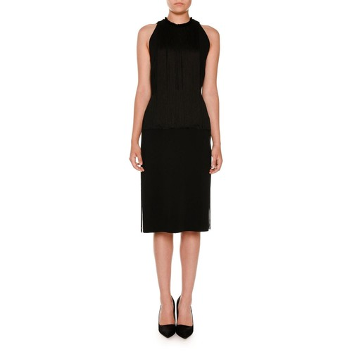 STELLA MCCARTNEY Sleeveless Fringed Pencil Dress, Black