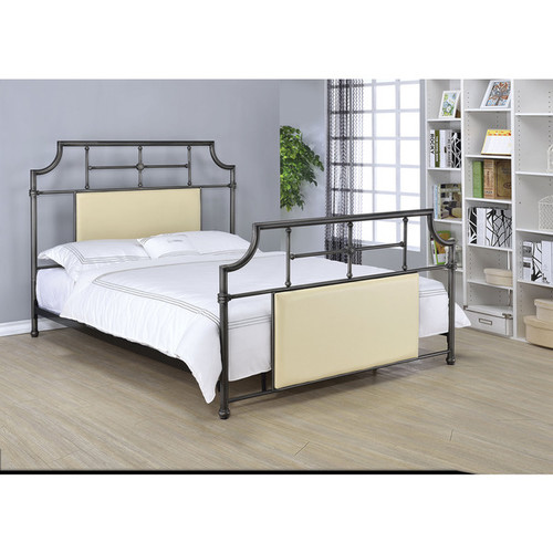 Xava Black/Beige Faux-leather Full Bed