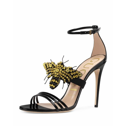 GUCCI Ilse Bee-Embellished Leather Sandal, Black