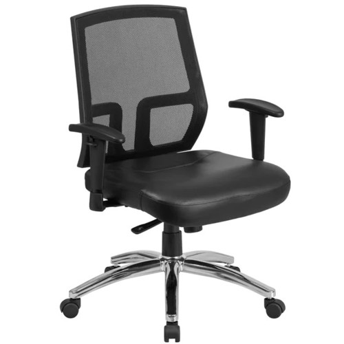 Mesh-back Leather-upholstered Thick Padded Foam Seat Ventilated Swivel Executive Office Chair