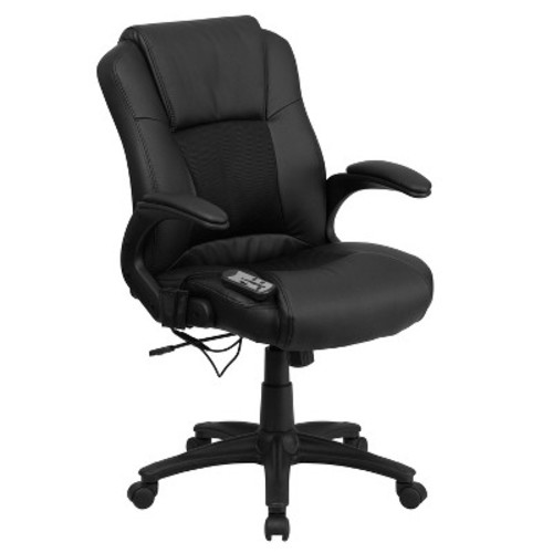 Massaging Black Leather Executive Swivel Office Chair - Flash Furniture