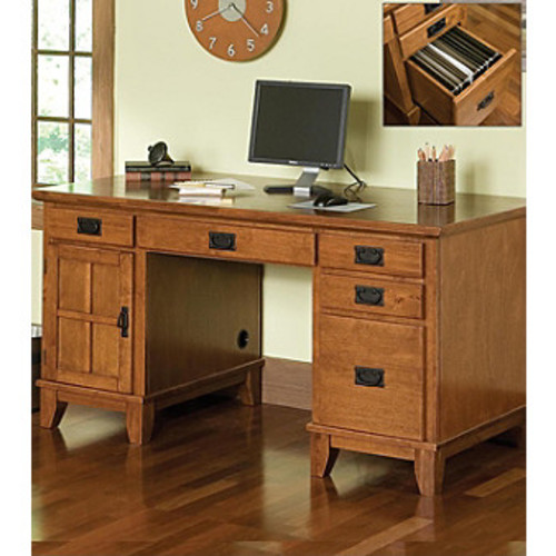 Home Styles Arts & Crafts Pedestal Desk - Cottage Oak