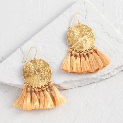 Gold Disk Tassel Earrings