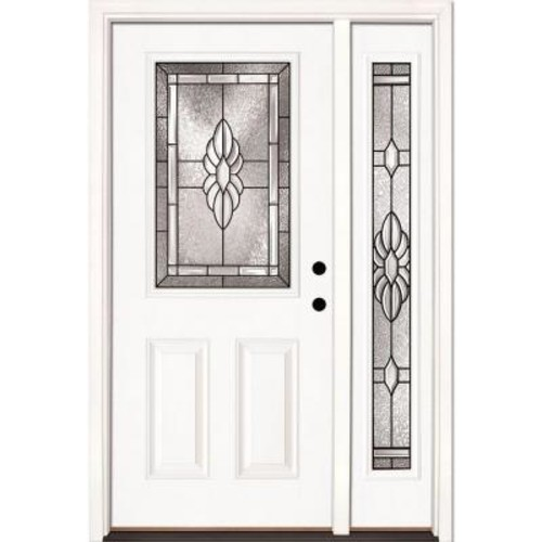Feather River Doors 50.5 in. x 81.625 in. Sapphire Patina 1/2 Lite Unfinished Smooth Left-Hand Fiberglass Prehung Front Door with Sidelite