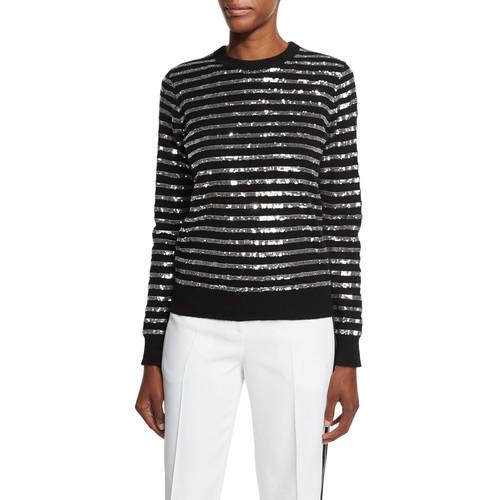 MICHAEL KORS COLLECTION Sequin-Striped Crewneck Sweater, Black