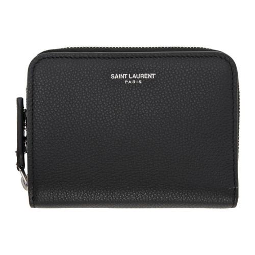 SAINT LAURENT Black Rive Gauche Compact Zip Around Wallet