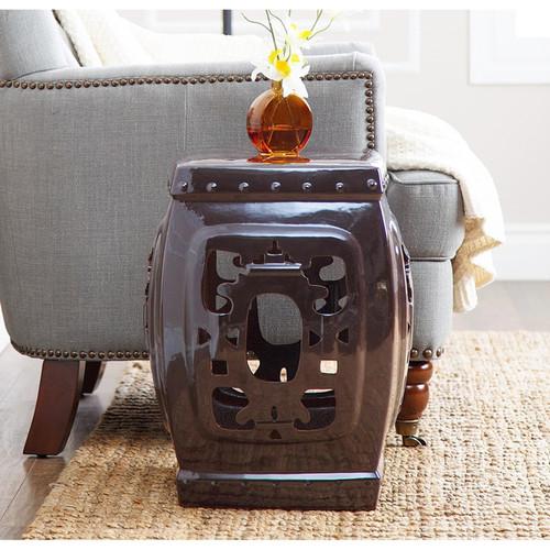 Abbyson Asian Ornate Brown Glazed Ceramic Garden Stool