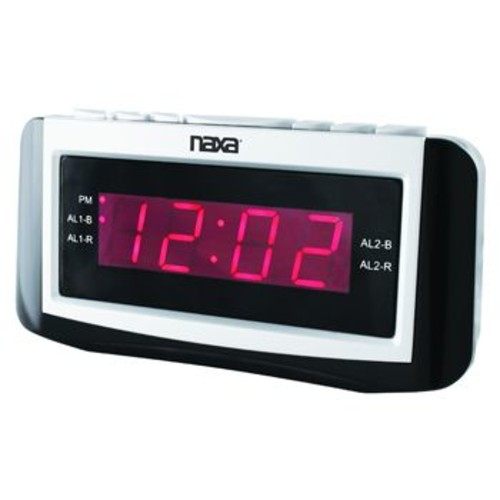 Naxa 97076733M PLL Digital Alarm Clock with AM/FM Radio, Snooze & Large LED Display