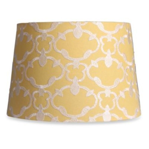 Mix & Match Medium 13-Inch Embroidered Linen Drum Lamp Shade in Yellow
