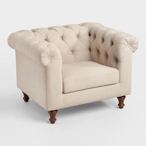 Oatmeal Beige Quentin Chesterfield Chair