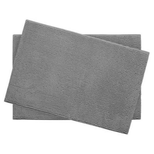 BounceComfort Plush Chenille Light Gray 17 in. x 24 in. Memory Foam 2-Piece Bath Mat Set