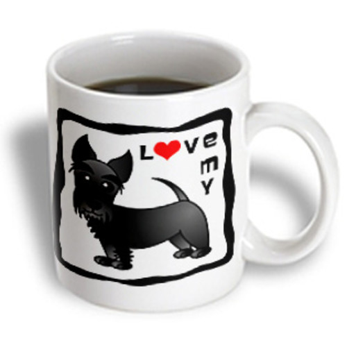 3dRose - Janna Salak Designs Dogs - I Love My Scottie Dog - Black - Red Heart - 15 oz mug