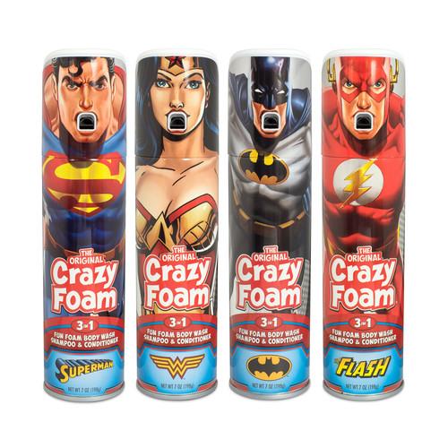 Crazy Foam DC Justice League 4 Pack Superman Batman Wonder Woman Flash