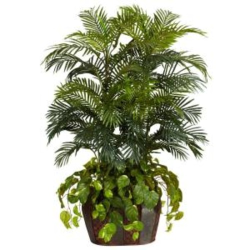 Nearly Natural 4.5 ft. Green Double Areca with Vase and Pothos Silk Plant