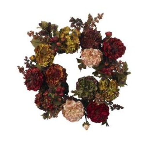 Nearly Natural 22 in. Artificial Wreath with Autumn Hydrangeas and Peony