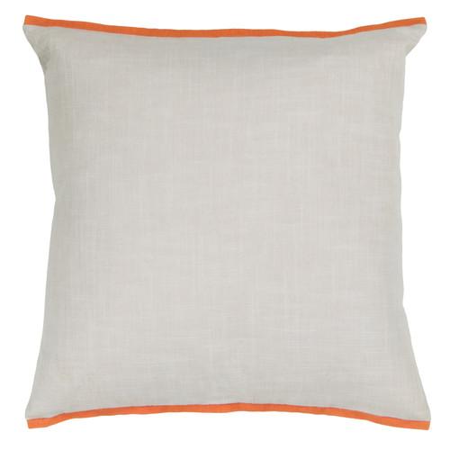 Textured Contemporary Cotton Pillow - White/Orange