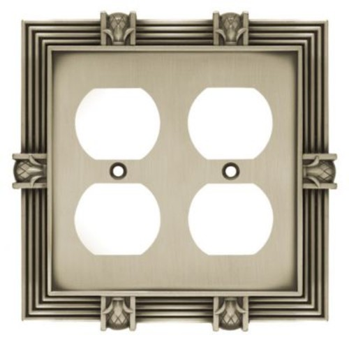 Franklin Brass Pineapple Double Duplex Wall Plate; Brushed Satin Pewter