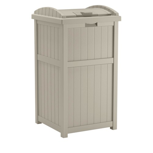 Suncast 33 Gal. Resin Taupe Outdoor Trash Can