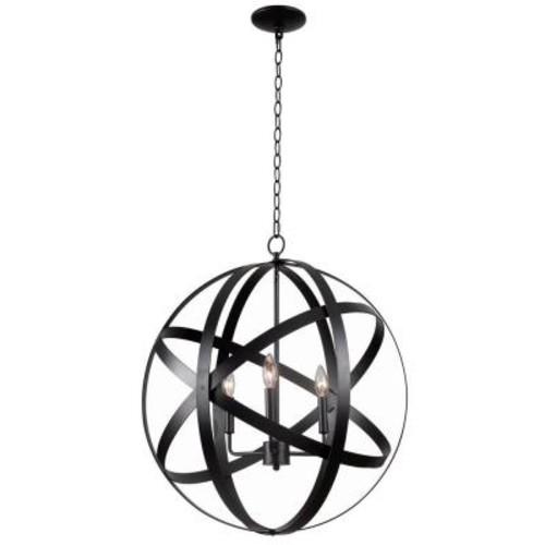 Kenroy Home Global 3-Light Black Pendant