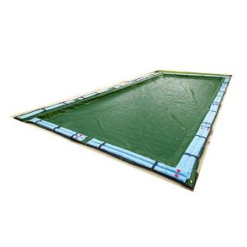Blue Wave 12-Year 25 ft. x 45 ft. Rectangular Forest Green In Ground Winter Pool Cover