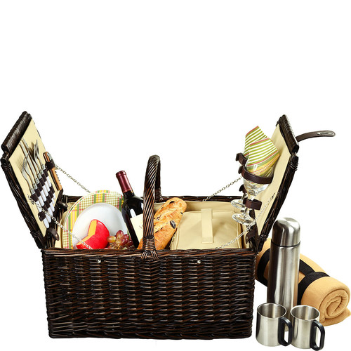 Picnic at Ascot Surrey Willow Picnic Basket with Service for 2 with Blanket and Coffee Set - Hamptons [Brown Wicker-Hamptons Plates/napkins]