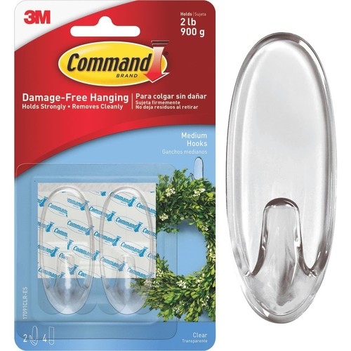 3M Command Clear Adhesive Hook - 17091CLR-ES