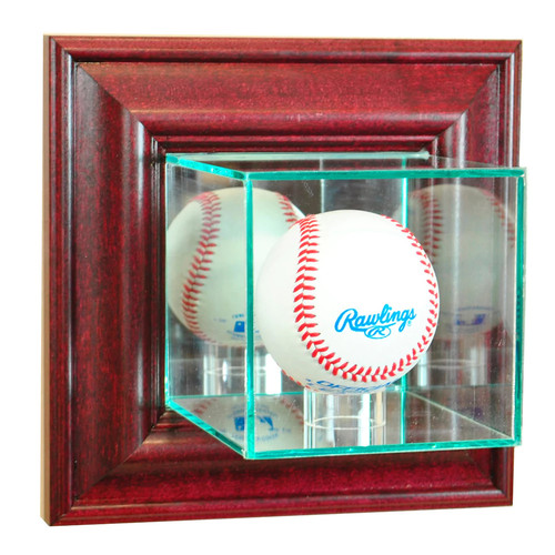 Perfect Cases Wall-Mounted Baseball Display Case, Cherry Finish