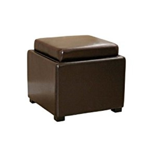 Wholesale Interiors Baxton Studio Dark Brown Leather Ottoman with Reversible Tray-Top